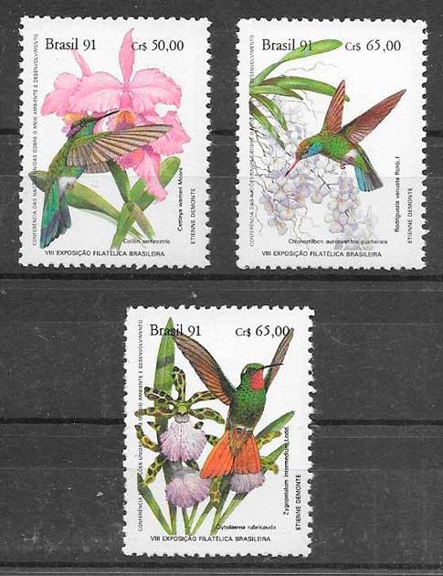colección sellos flora y fauna Brasil 1991