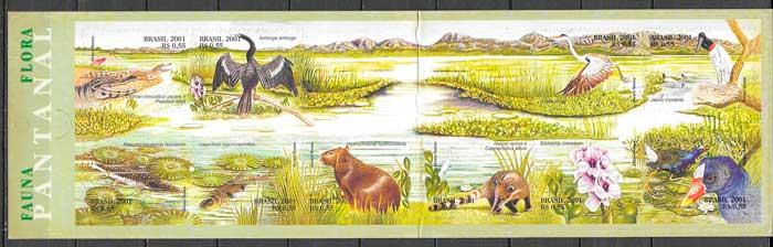 colección sellos fauna y flora Brasil 2001