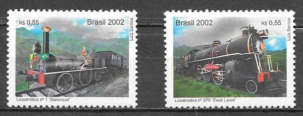 filatelia colección trenes Brasil 2002