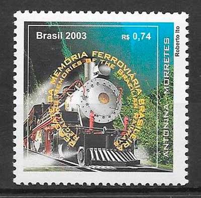 colección sellos trenes Brasil 2003
