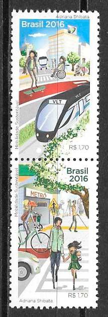 colección sellos trenes Brasil 2016