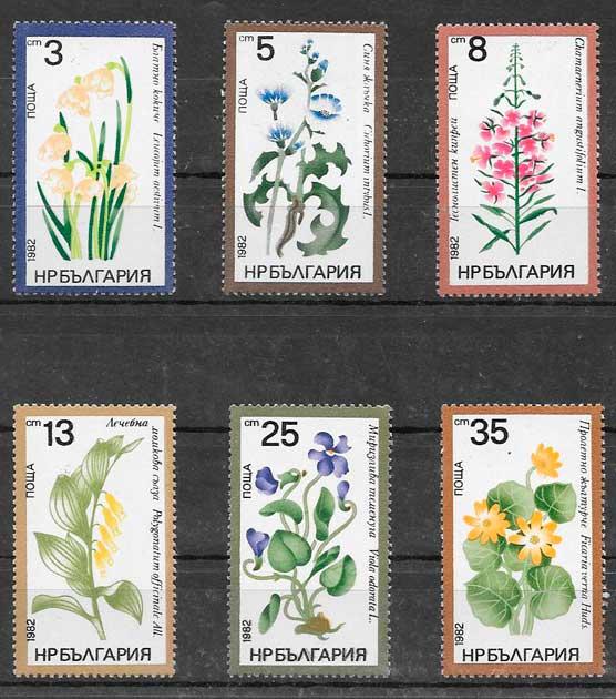 filatelia colección flora Bulgaria 1982