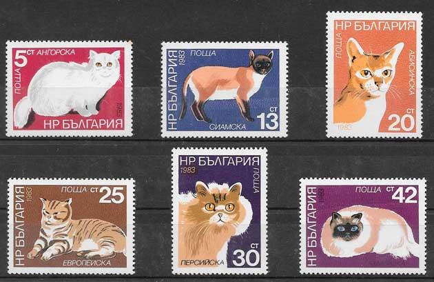 colección sellos gatos y perros de Bulgaria