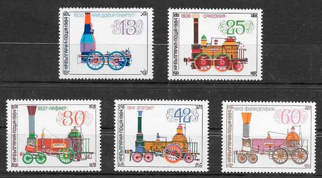 sellos trenes Bulgaria 1984