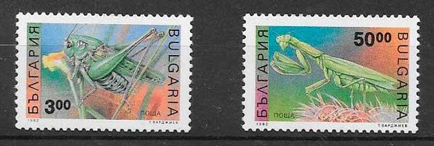 colección sellos fauna Bulgaria 1992