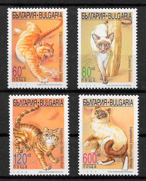 filatelia colección gatos y perros de Bulgaria 1998
