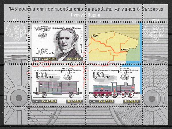 filatelia colección trenes Bulgaria 2011