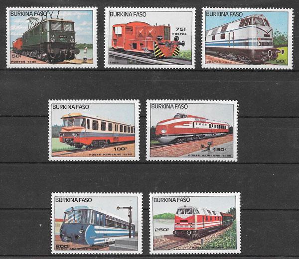 filatelia colección trenes Burkina Faso 1985