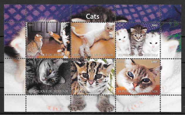 sellos gatos Burundi 2011