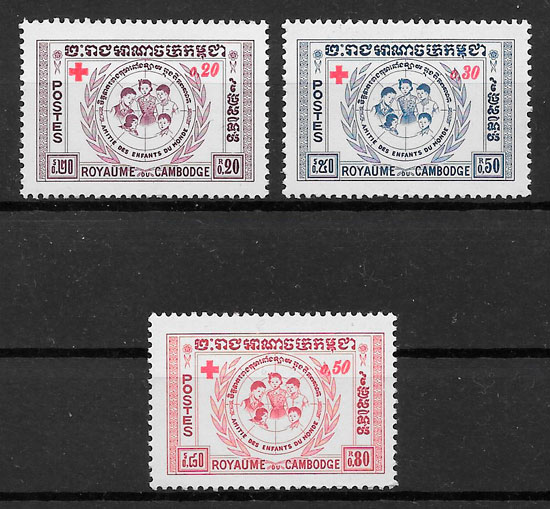 sellos cruz roja Camboya 1962