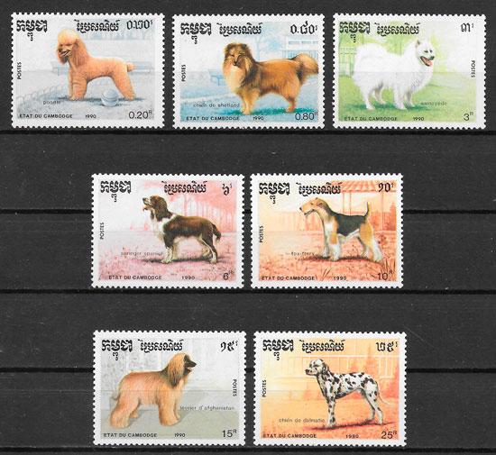 filatelia colección perros Camboya 1990