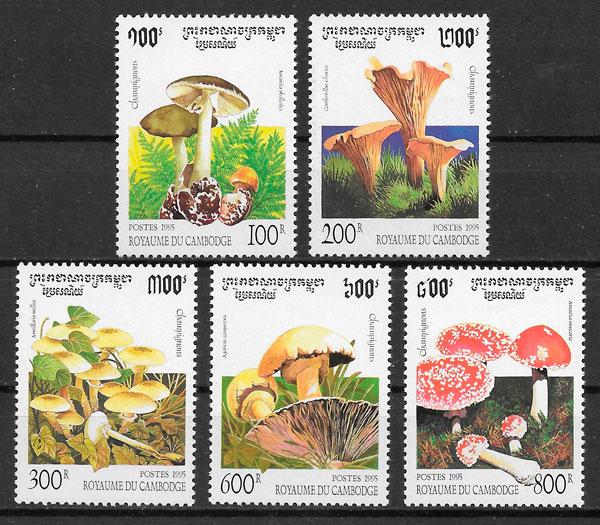 sellos setas Camboya 1995
