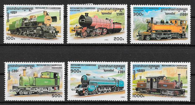 filatelia trenes Camboya 1996