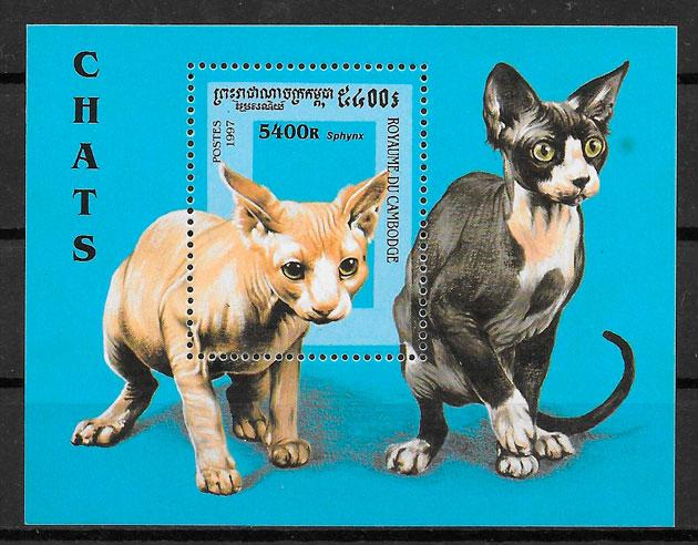 filatelia gatos y perros Camboya 1997