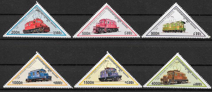 sellos trenes Camboya 1998