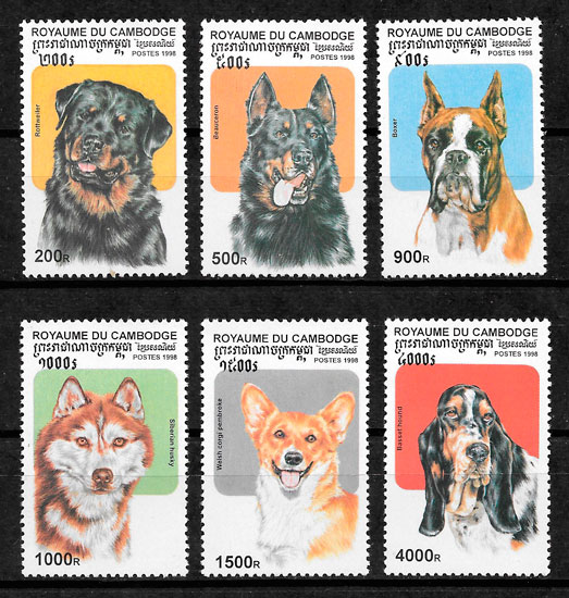 filatelia perros Camboya 1998