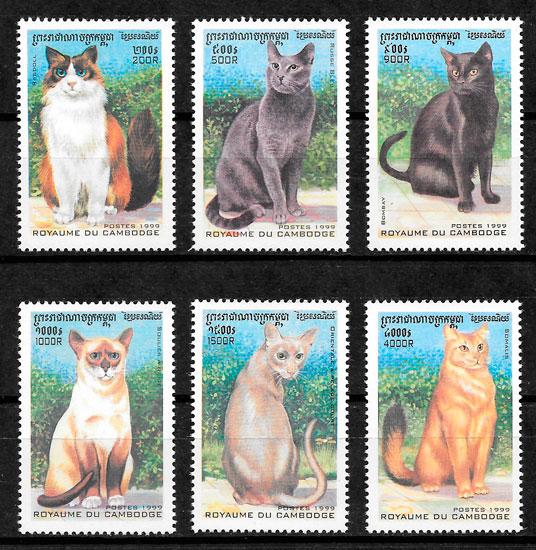 filatelia gatos Camboya 1999