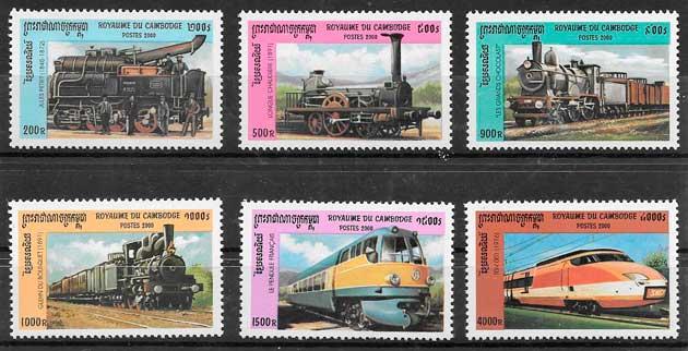 filatelia trenes Camboya 2000