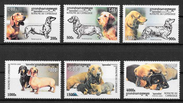 filatelia perros Camboya 2001