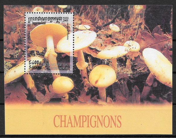 colección sellos setas Camboya 2001