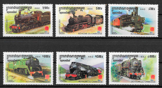 filatelia trenes Camboya 2001