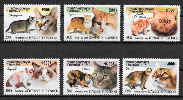 filatelia colección gatos Camboya 2001