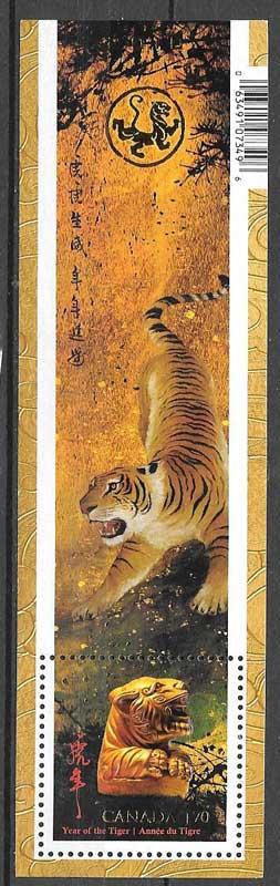 Colección sellos Año lunar Canadá 2010