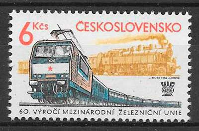 filatelia trenes Checoslovaquia 1982