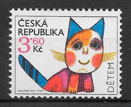 filatelia colección gatos Chequia 1995