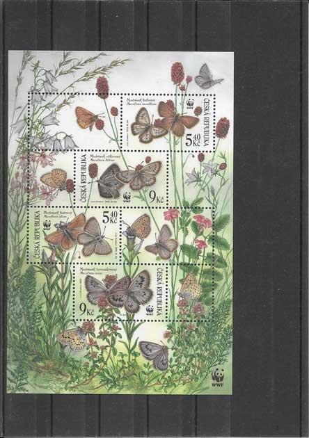 Colección sellos hojita del tema mariposas