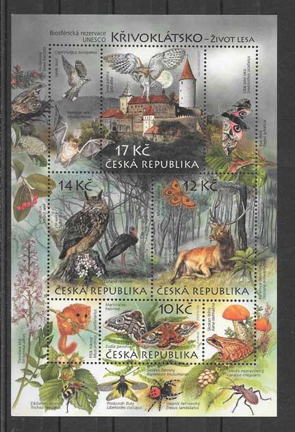 Sellos Filatelia hojita tema fauna y flora.