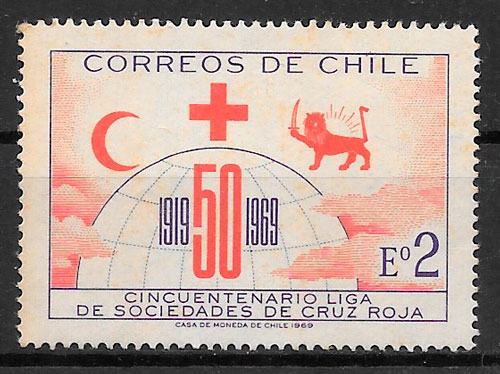colección selos cruz roja Chile 1969