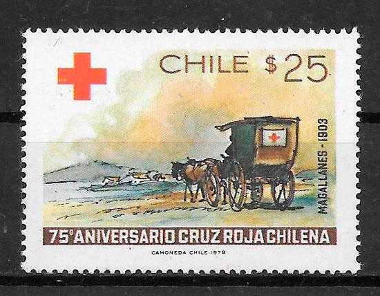 sellos cruz roja CHILE 1974