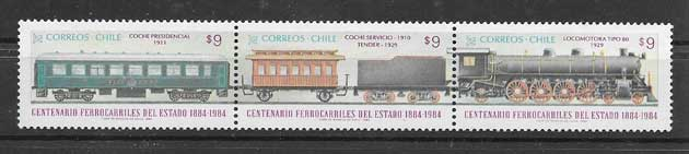 Filatelia sellos transporte ferroviario de Chile