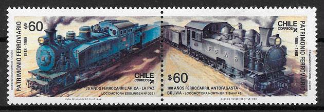 selos trenes Chile 1988