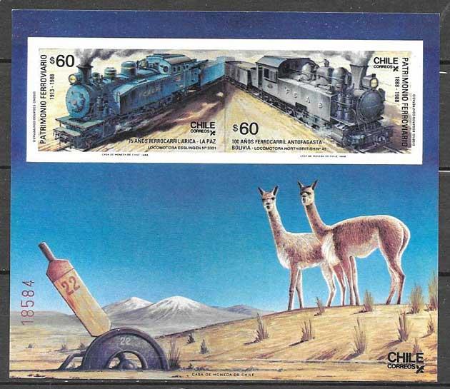 sellos Chile trenes 1988