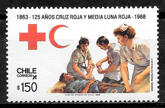 filatelia cruz roja Chile 1988