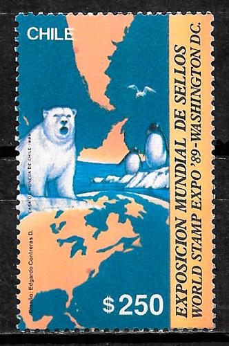 colección sellos fauna Chile 1989