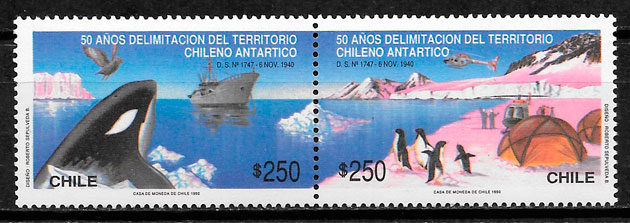 filatelia colección fauna Chile 1990