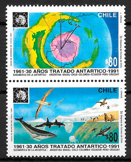 filatelia colección fauna Chile 1991