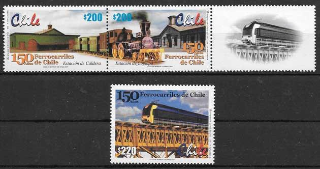 sellos colección trenes Chile 2001