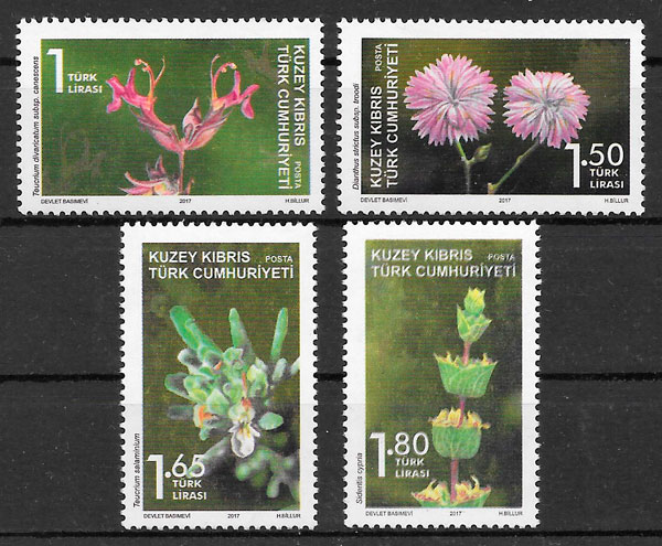 filatelia colección flora Chipre Turco 2017