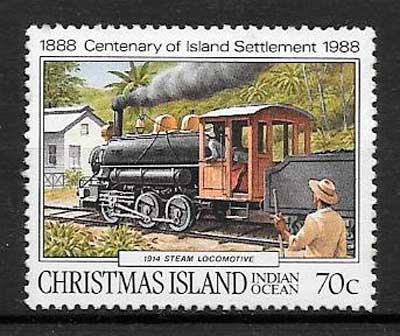 filatelia trenes Christmas Island 1988