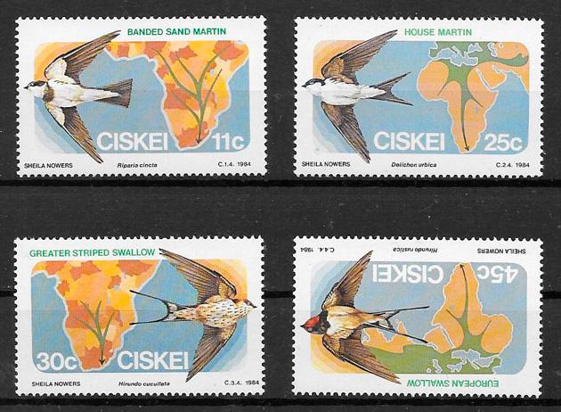 colección sellos fauna Ciskei 1984