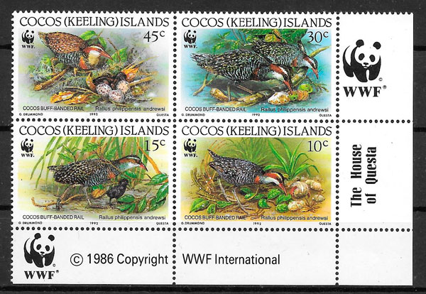 sellos wwf Cocos Islands 1992