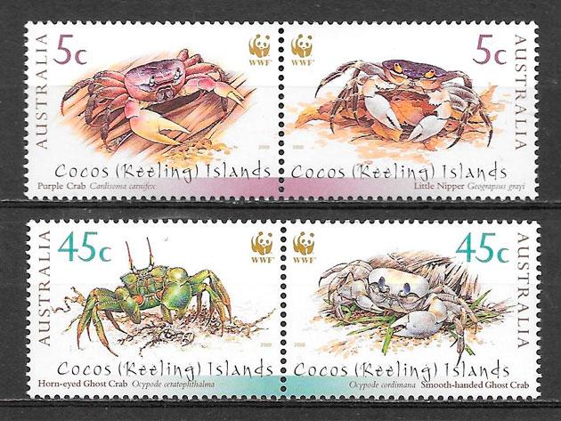 filatelia wwf Cocos Islansd 2000