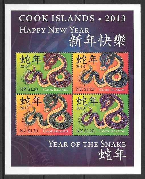 colección sellos año lunar Cook Island - Oceanía 2013