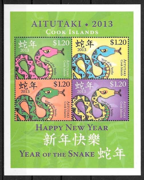 sellos año lunar Aitutaki- Cooks Island