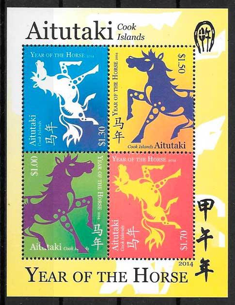 sellos año lunar Aitutaki Cooks Island