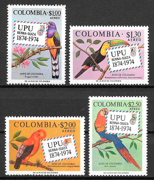 filatelia fauna Colombia 1974